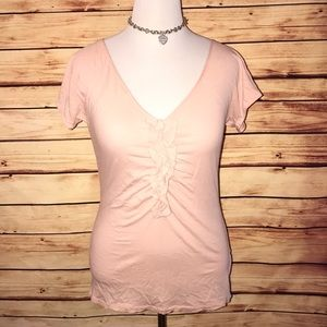 J Crew Soft Peachy Pink Ruffle Front V Neck Tee